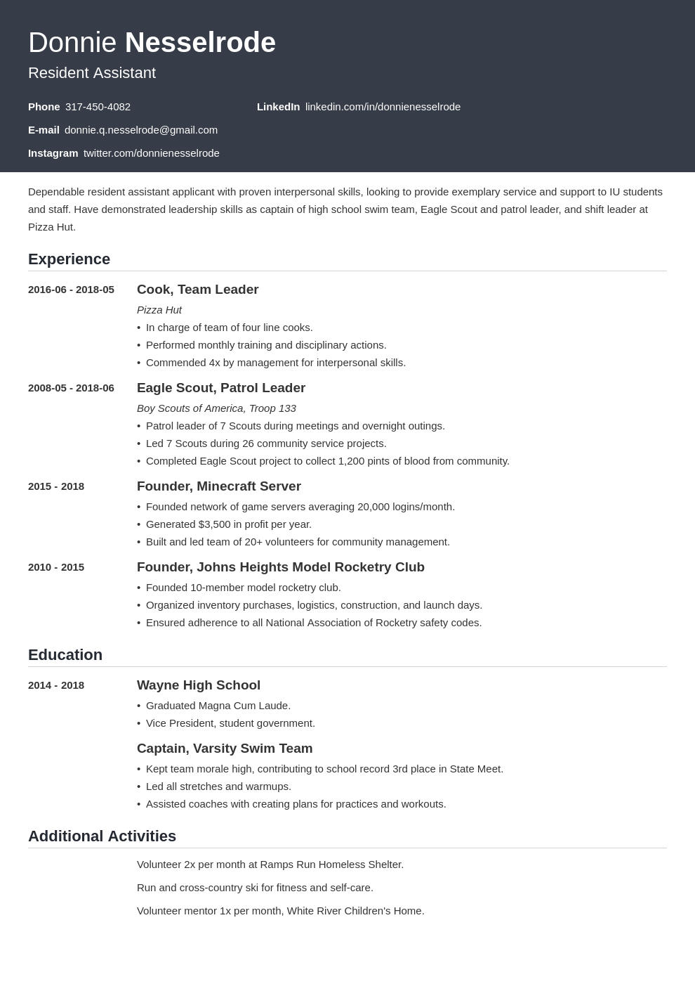 resident assistant resume example template influx