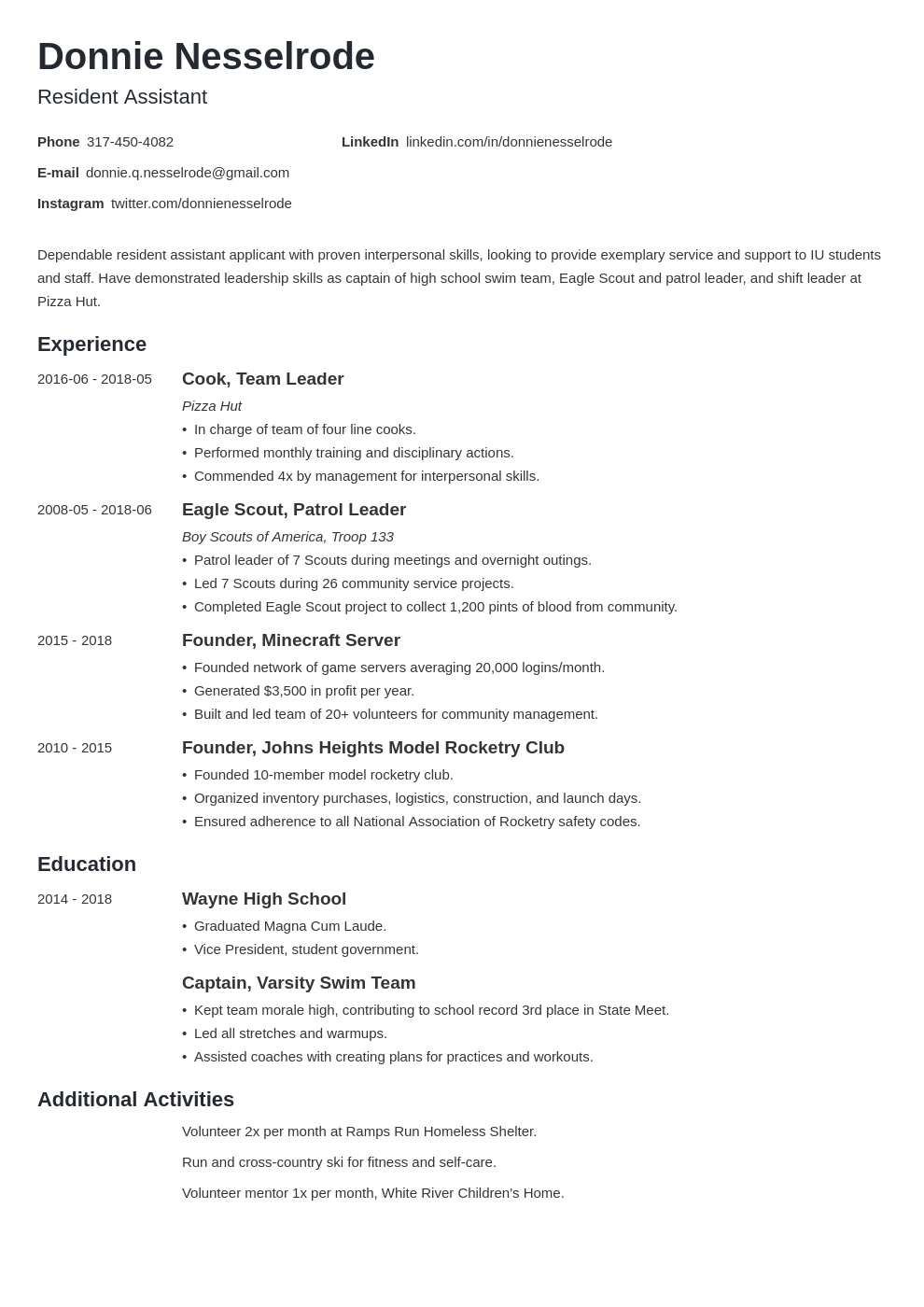 resident assistant resume example template minimo