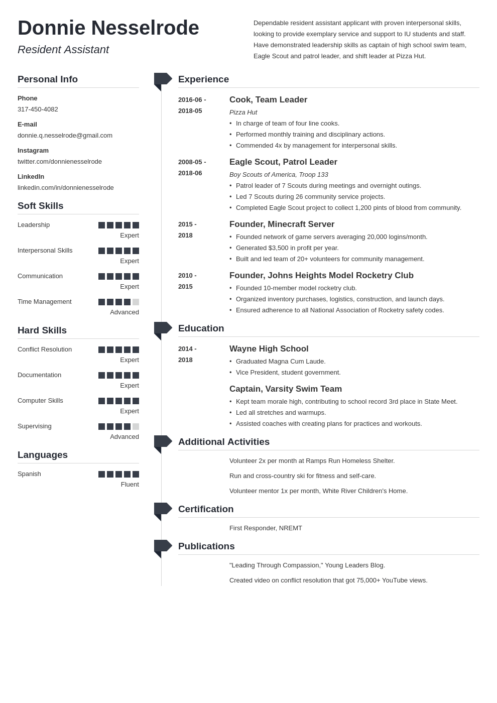 resident assistant resume example template muse