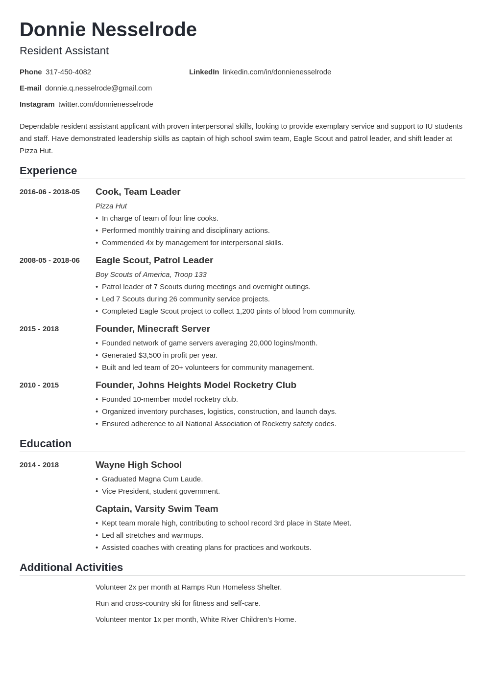 resident assistant resume example template nanica