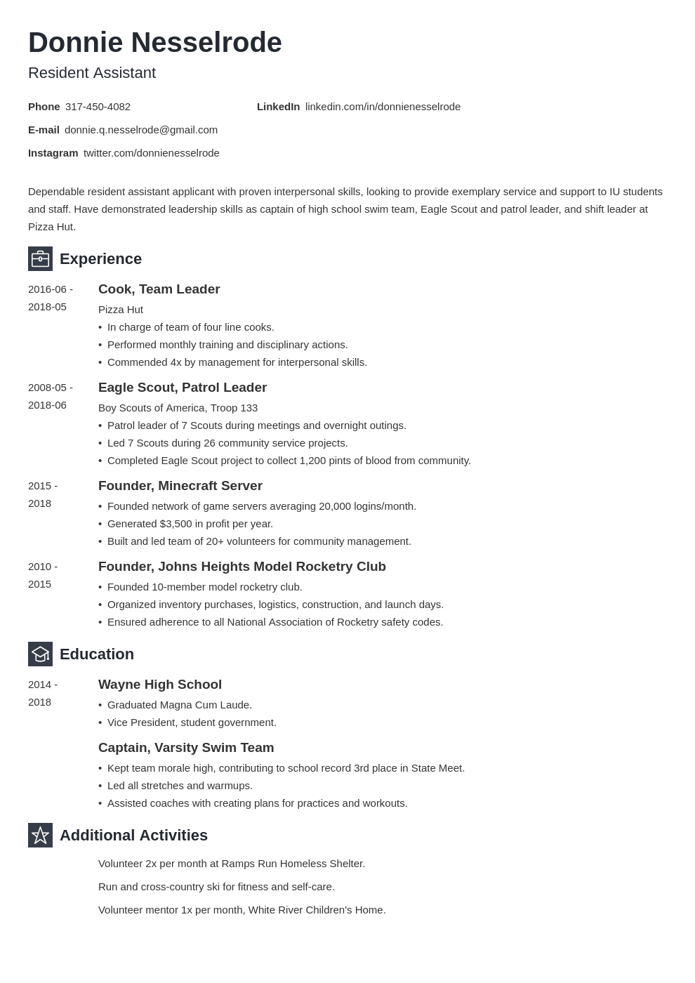 resident assistant resume example template newcast