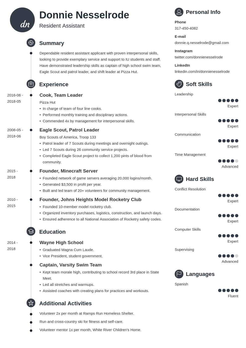 resident assistant resume example template primo