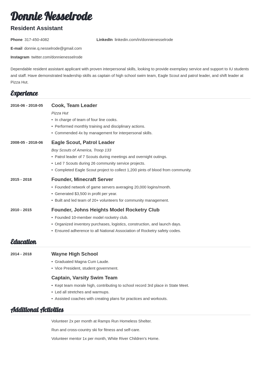 resident assistant resume example template valera