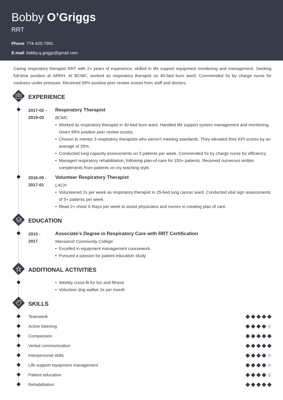respiratory therapist resume example template diamond
