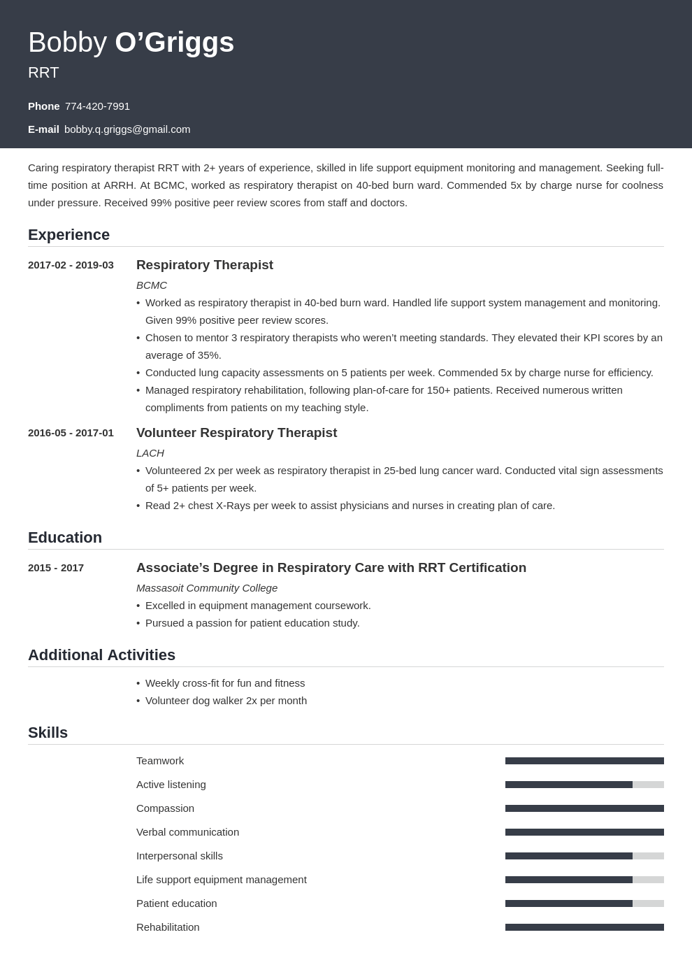 respiratory therapist resume example template influx