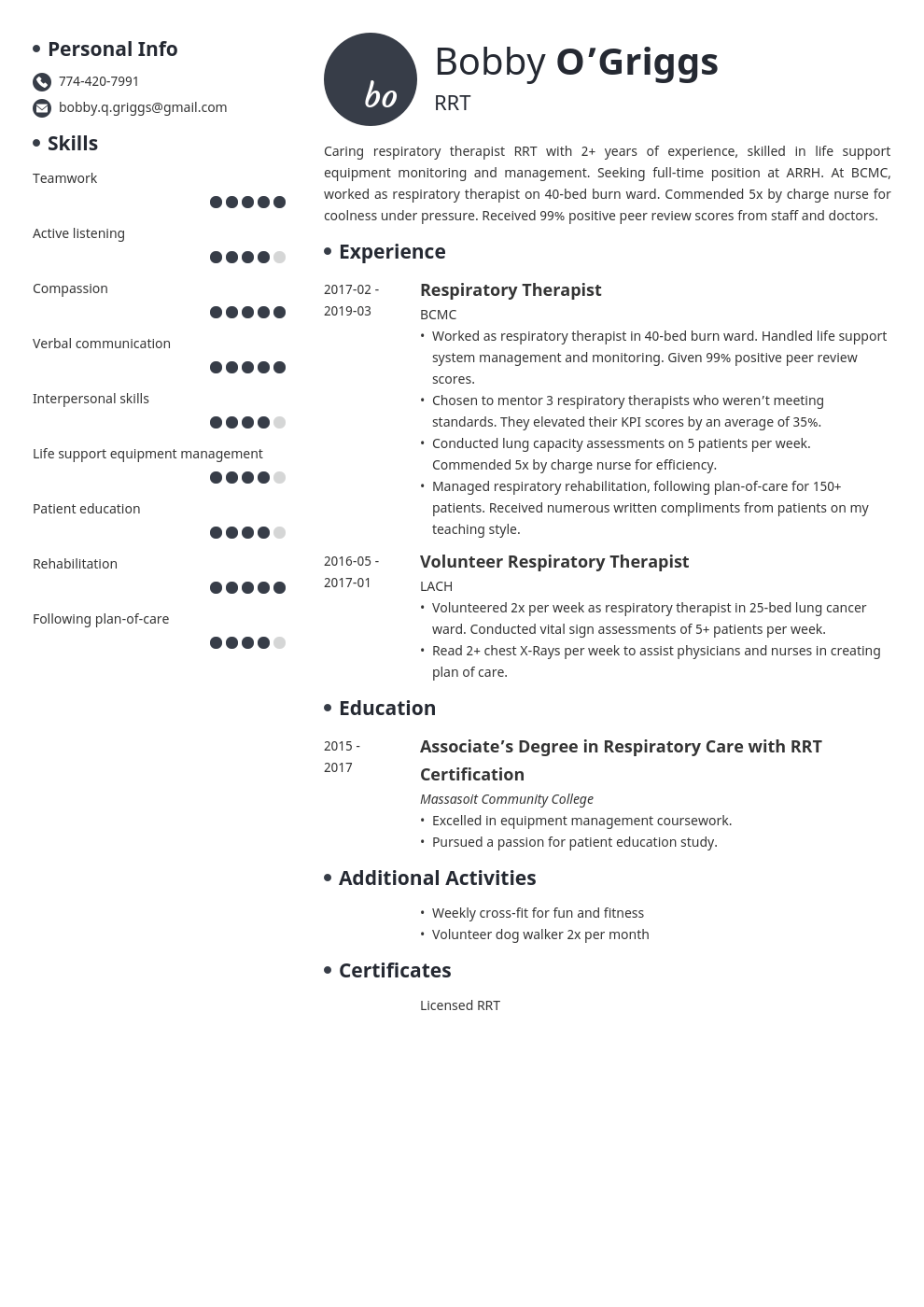 respiratory therapist resume example template initials
