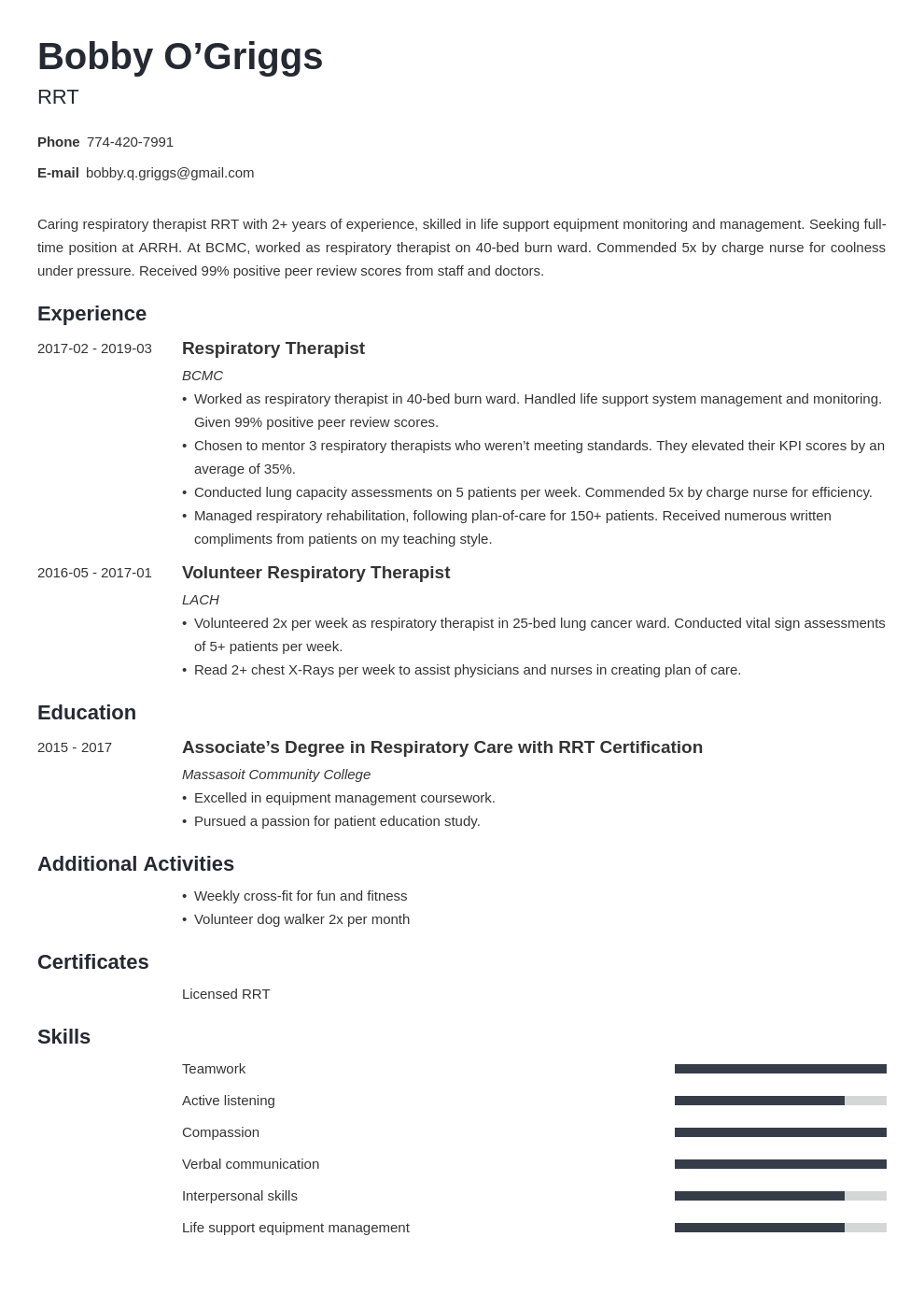 respiratory therapist resume example template minimo