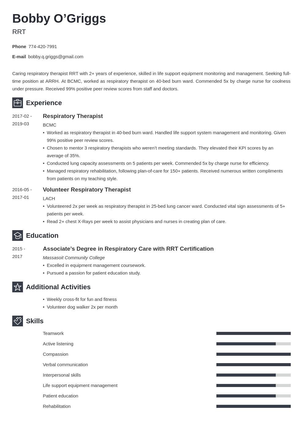 respiratory therapist resume example template newcast