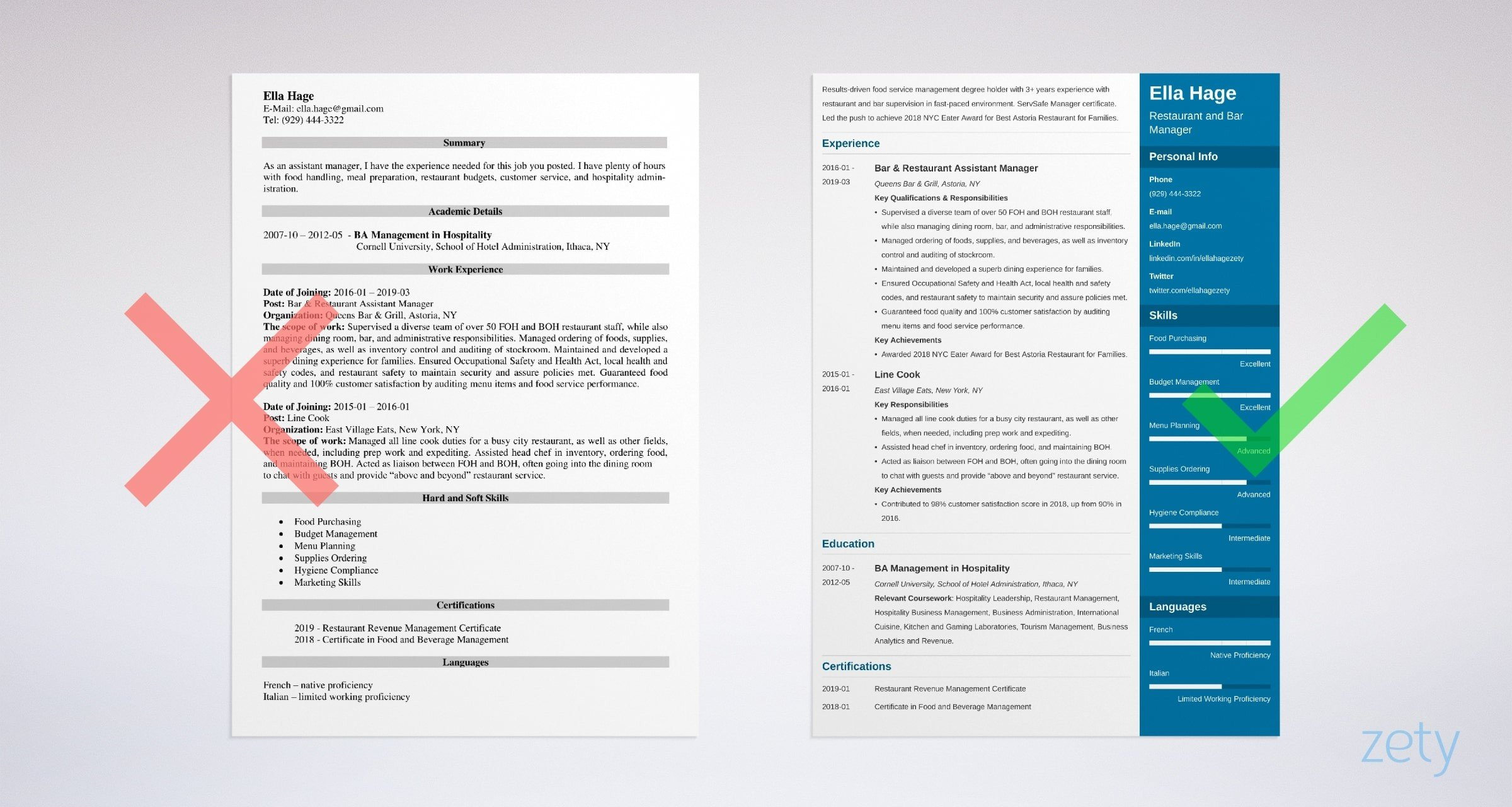 Restaurant Manager Resume Templates