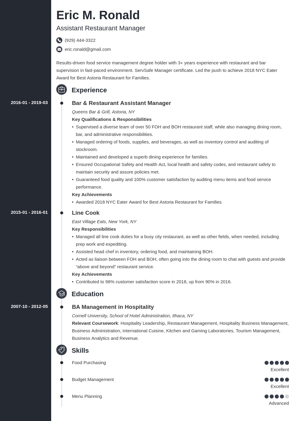 restaurant manager resume example template concept