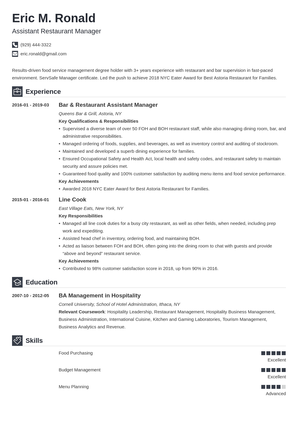 restaurant manager resume example template iconic