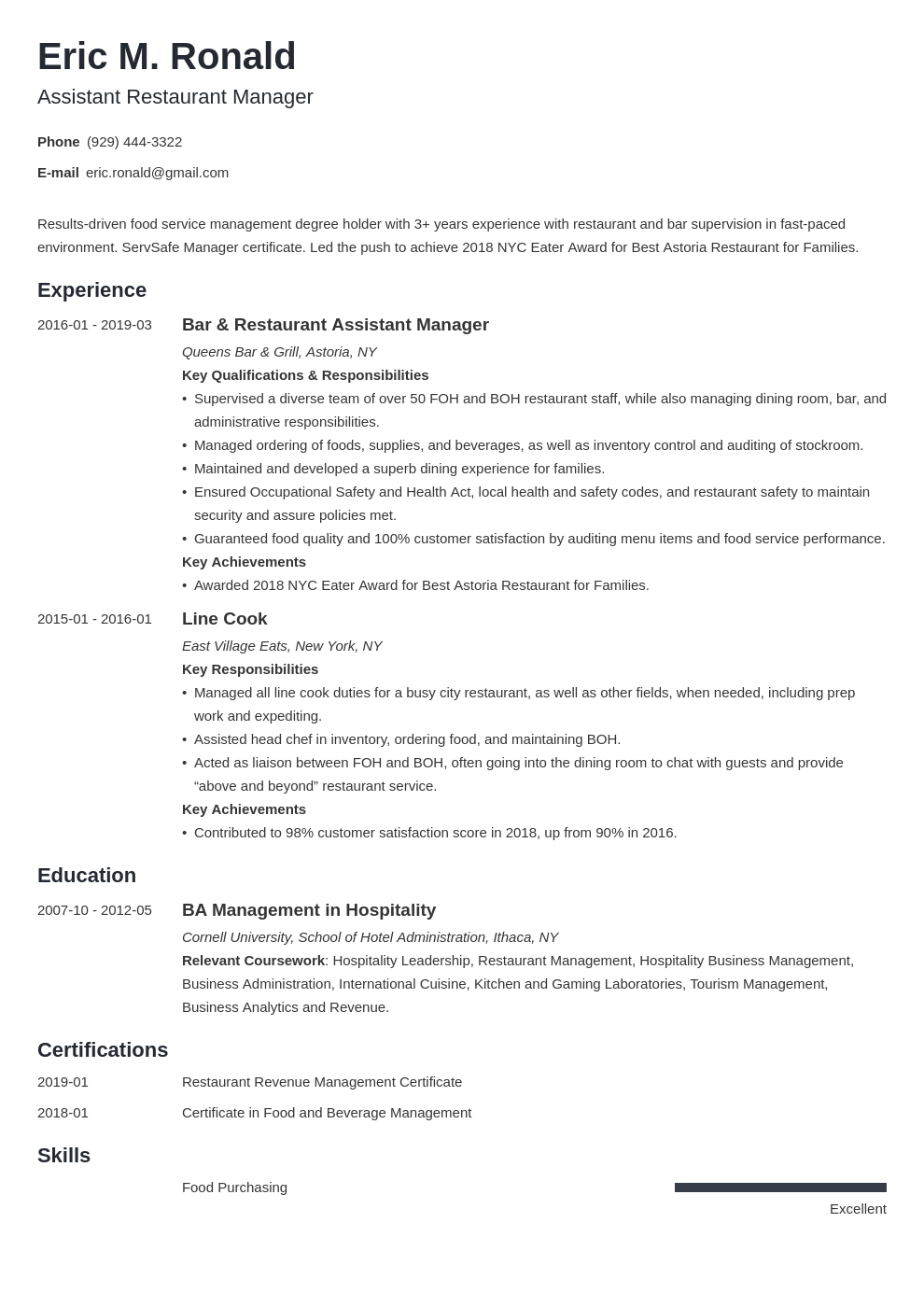 restaurant manager resume examples  job description  skills