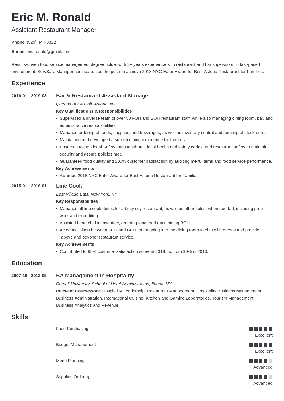 restaurant manager resume example template nanica