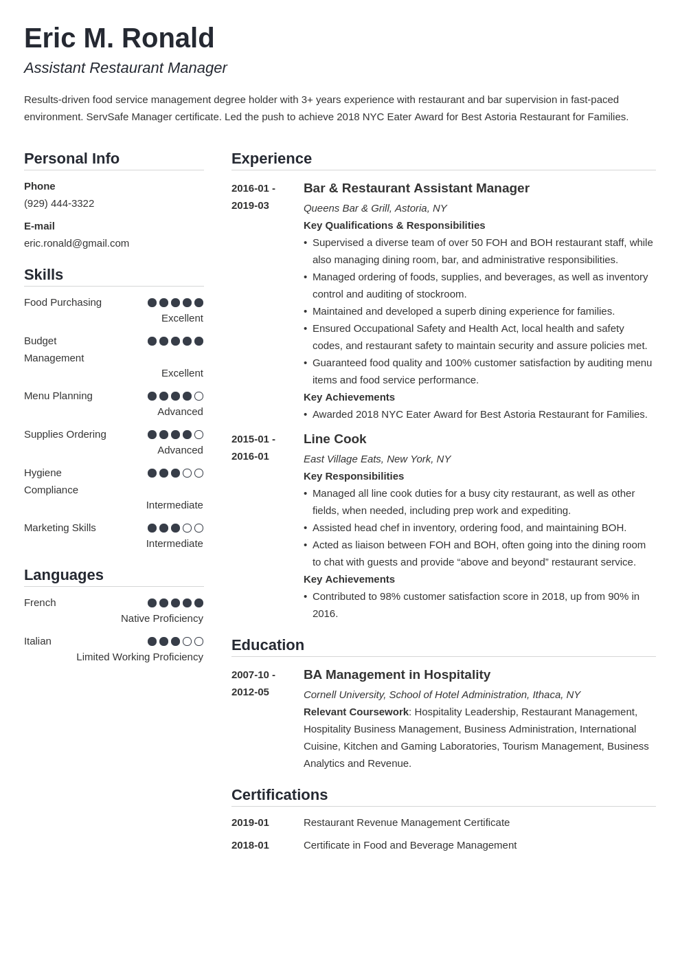 restaurant manager resume example template simple
