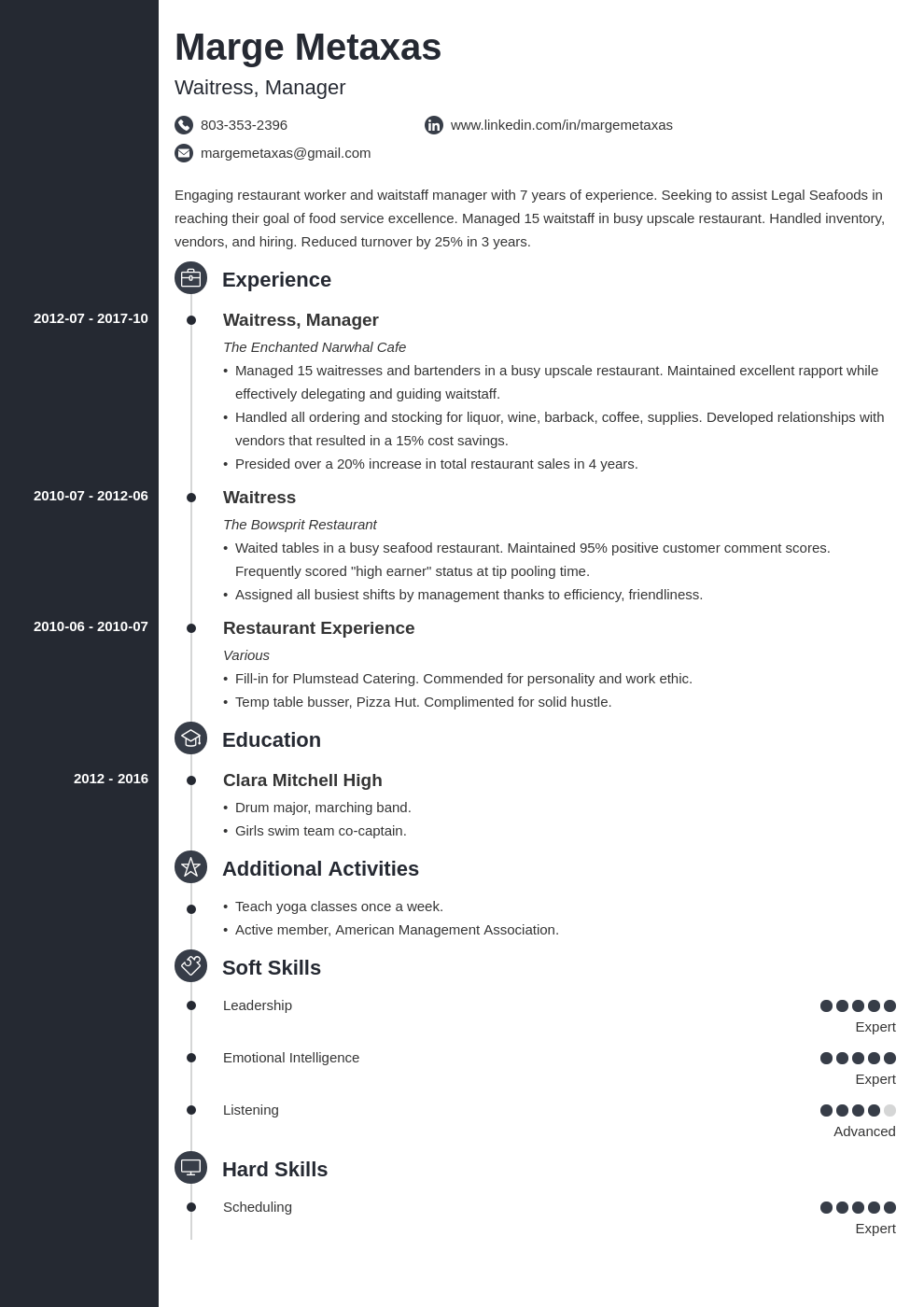 restaurant resume example template concept