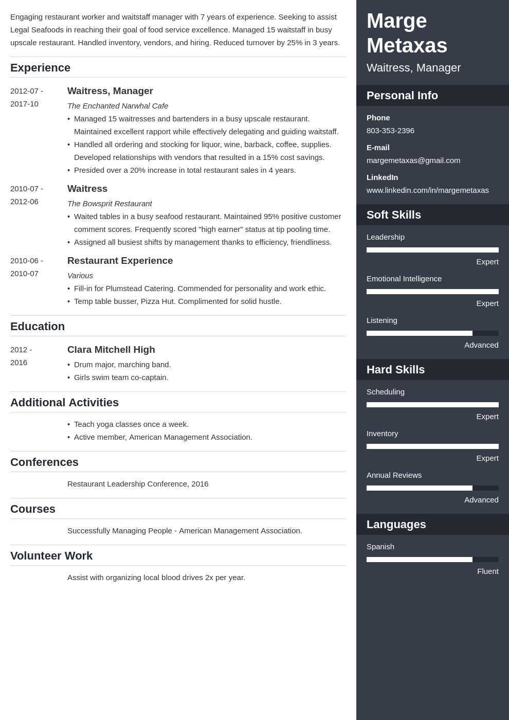 restaurant resume example template enfold
