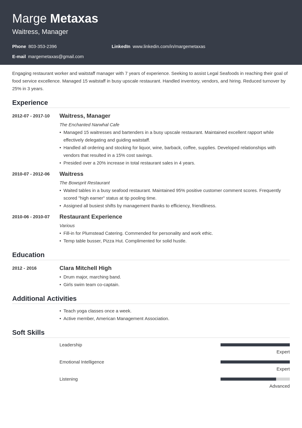 restaurant resume example template influx