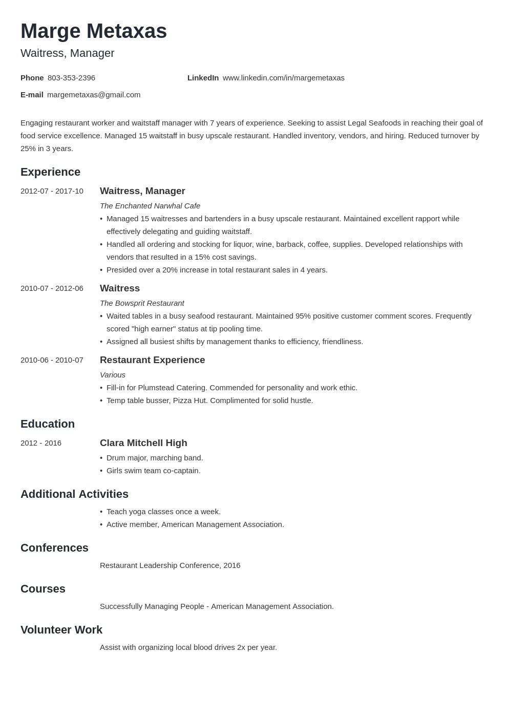 restaurant resume example template minimo