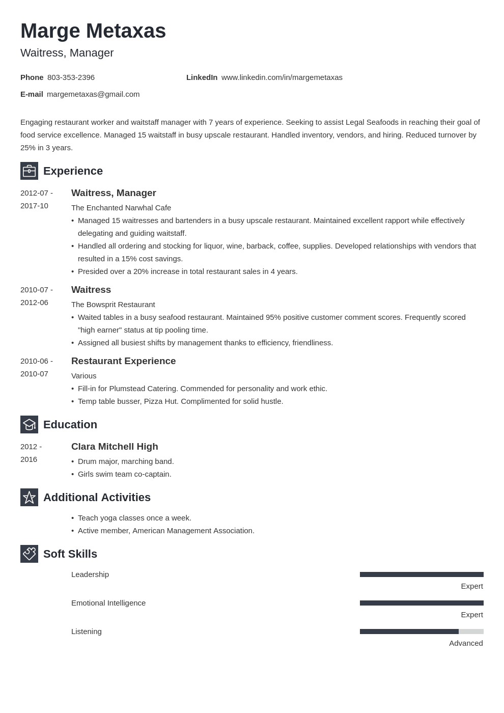 restaurant resume example template newcast