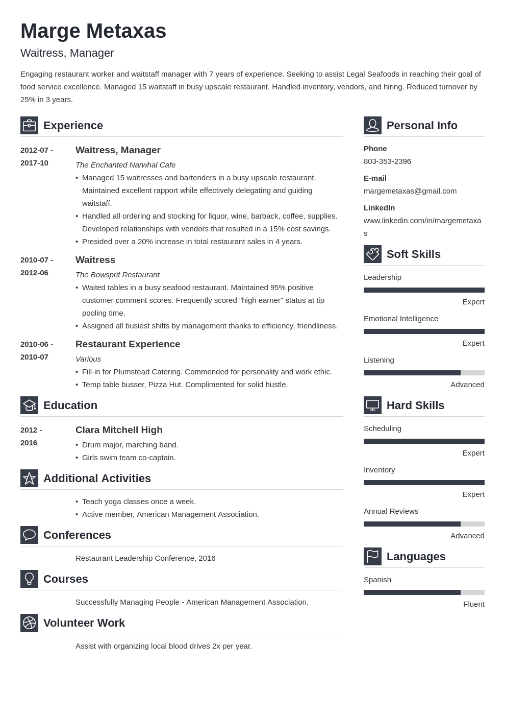 restaurant resume example template vibes