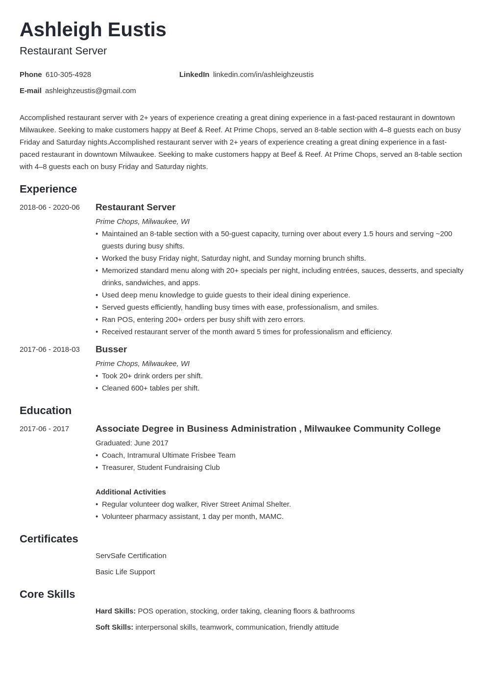 restaurant server resume examples and guide 10 tips