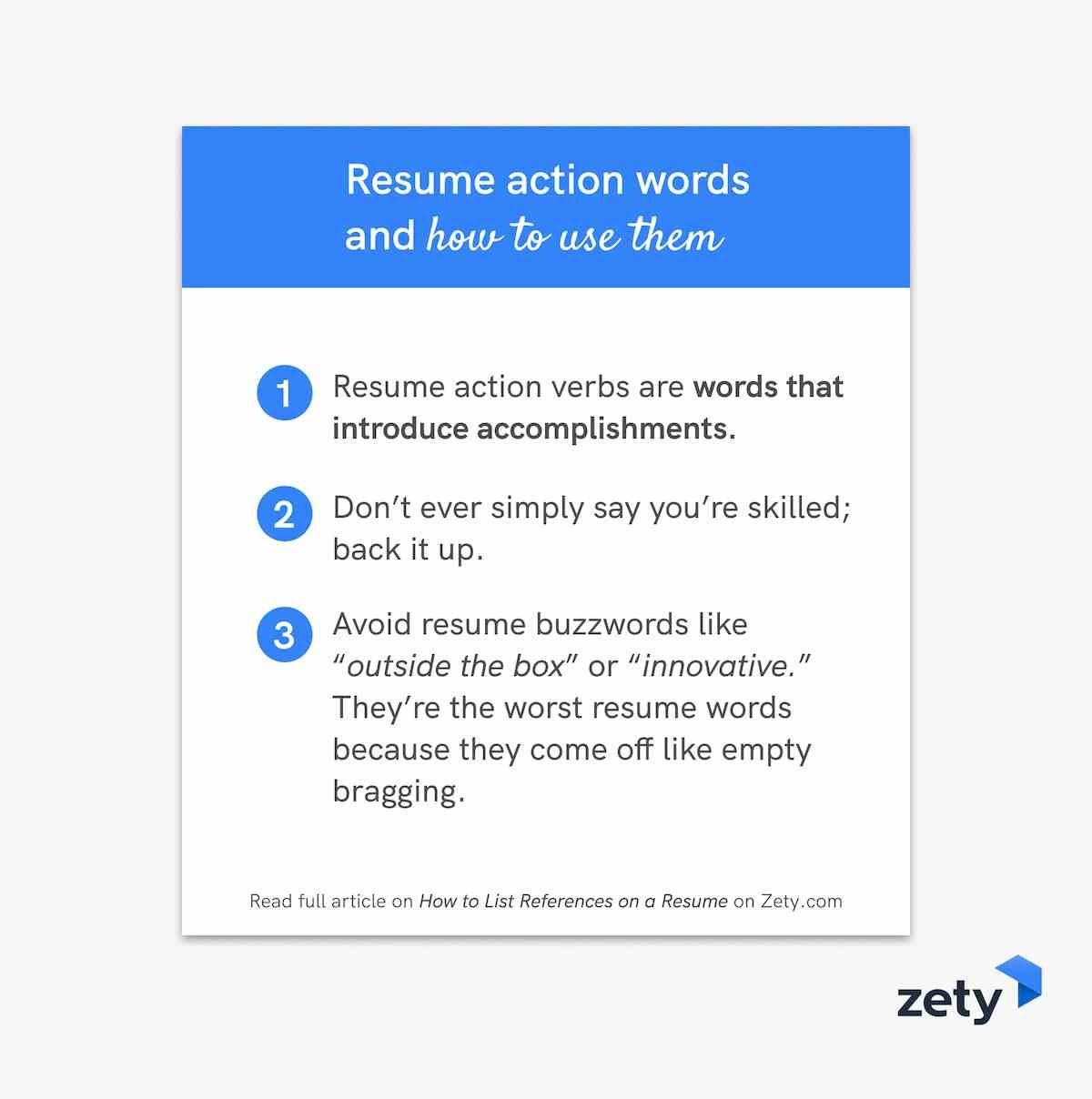 Resume action words and how to use them