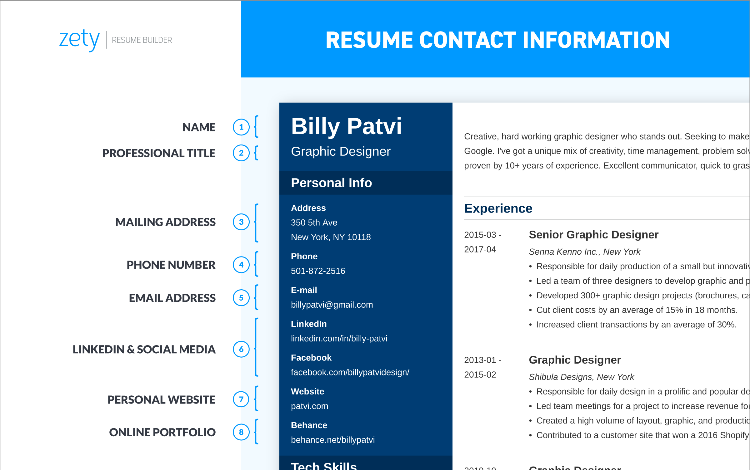 address on a resume  social media  what contact