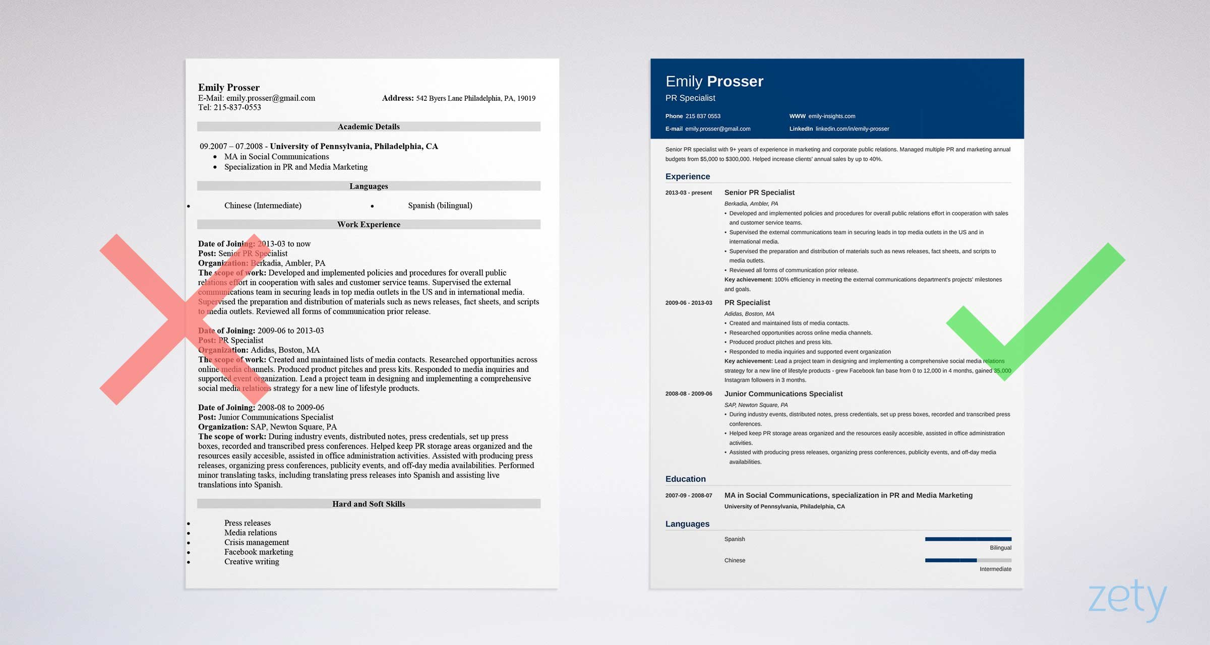 bad and good resume designs comparison