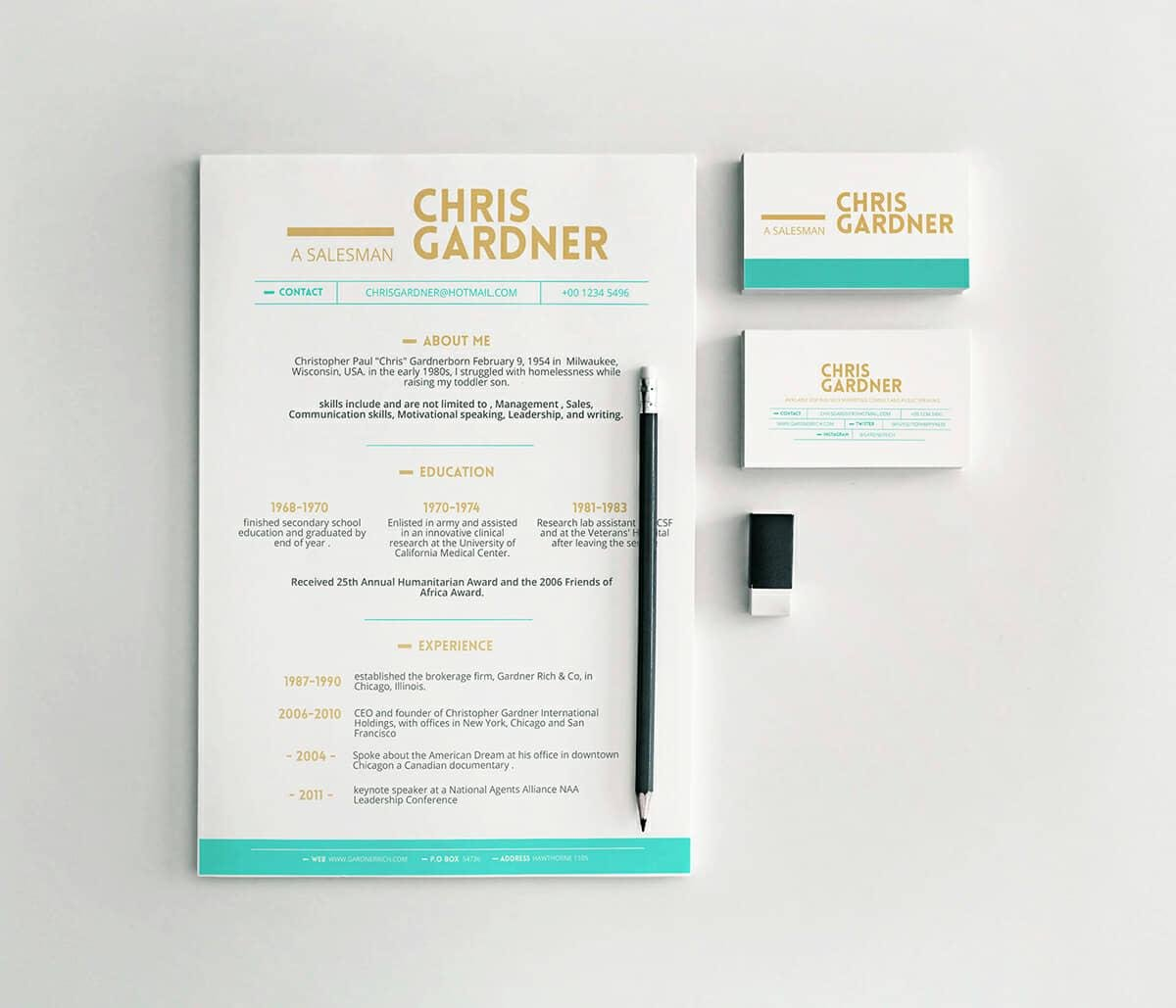 well designed resume with golden and mint details
