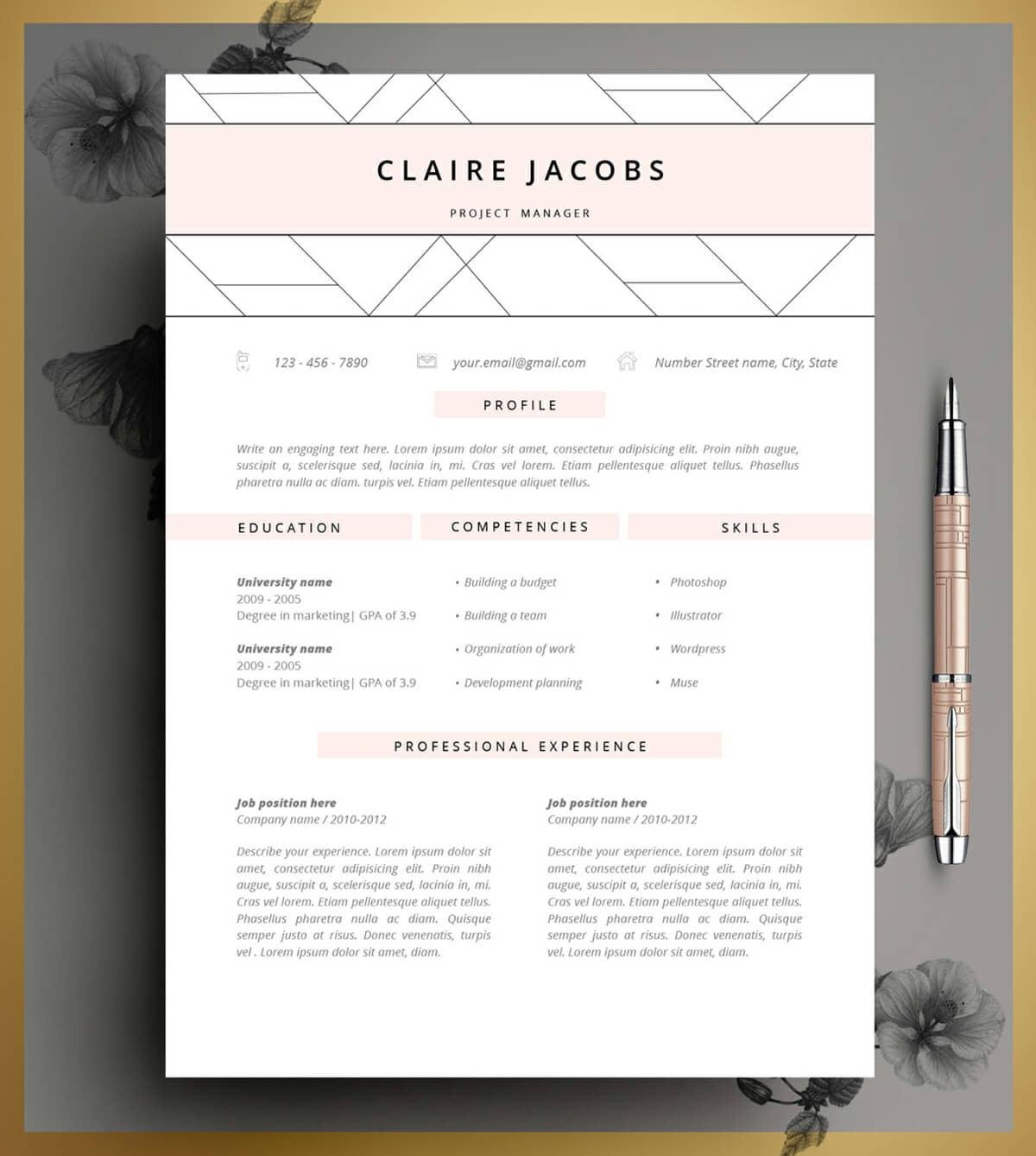 modern resume design with geometric header and pink elements