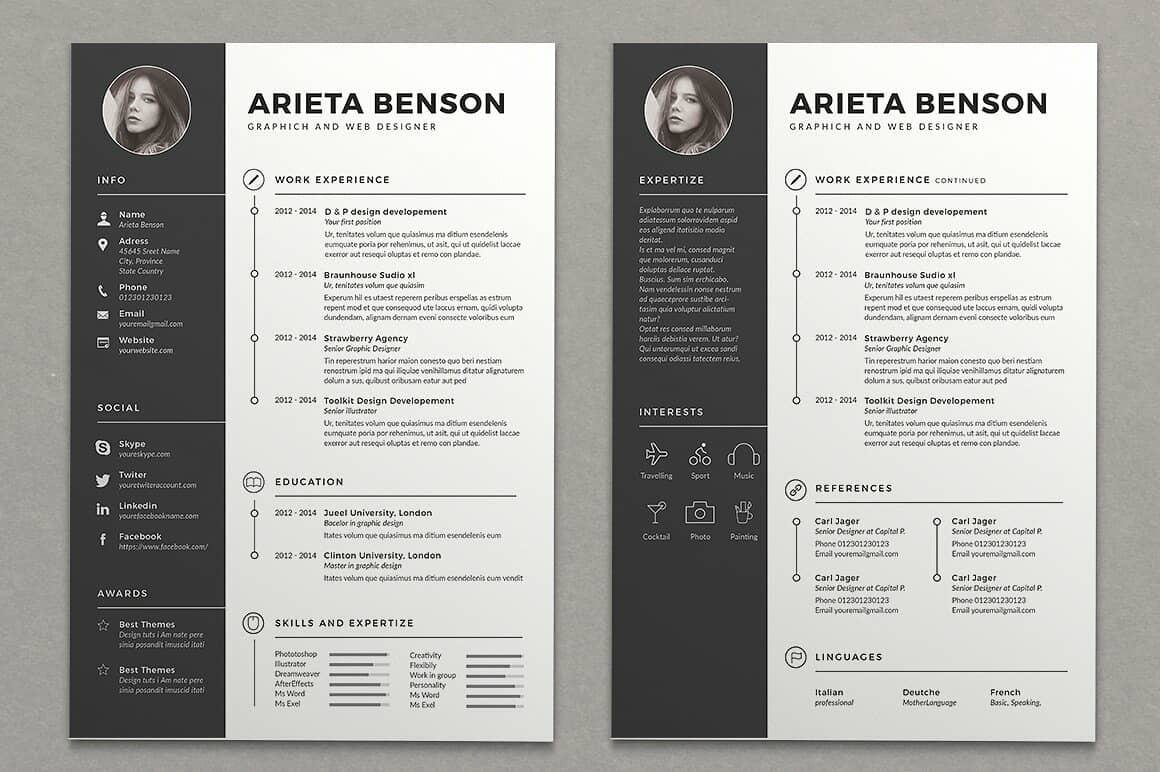 cool resume designs in black and white with icons