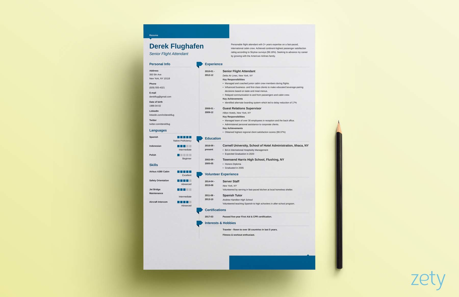 Blue Resume Design With Geometric Section Titles Tags  Design Resume