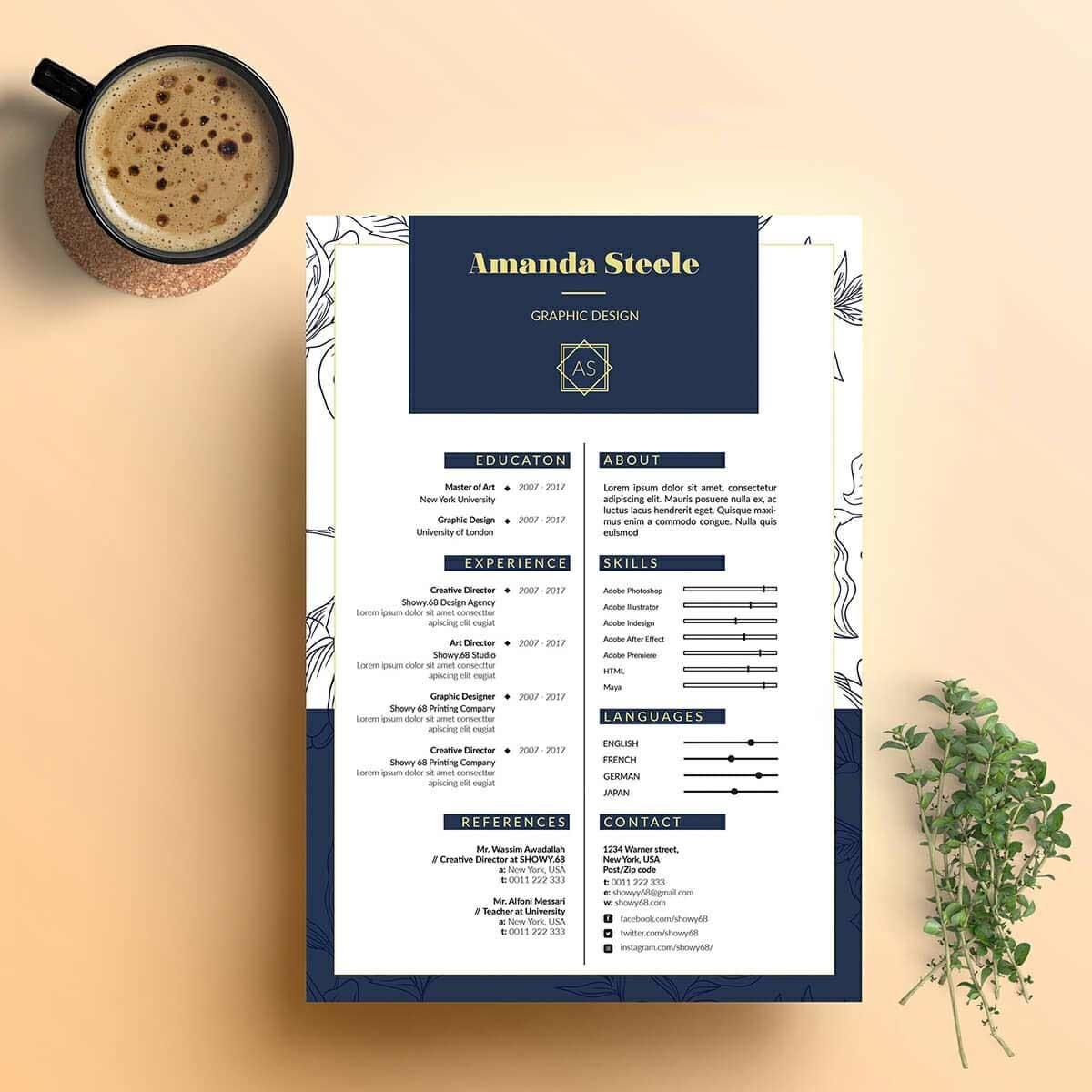 creative resume design with floral margins