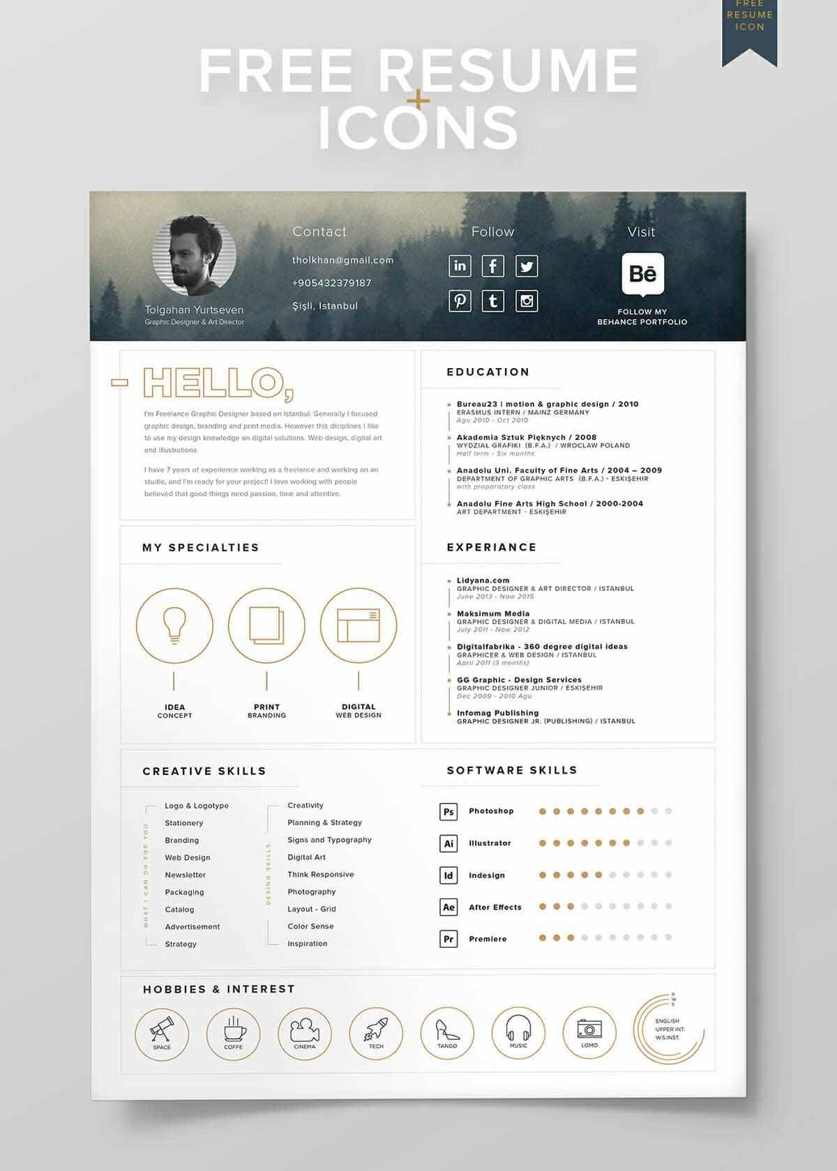 good resume design with golden icons and photo in header