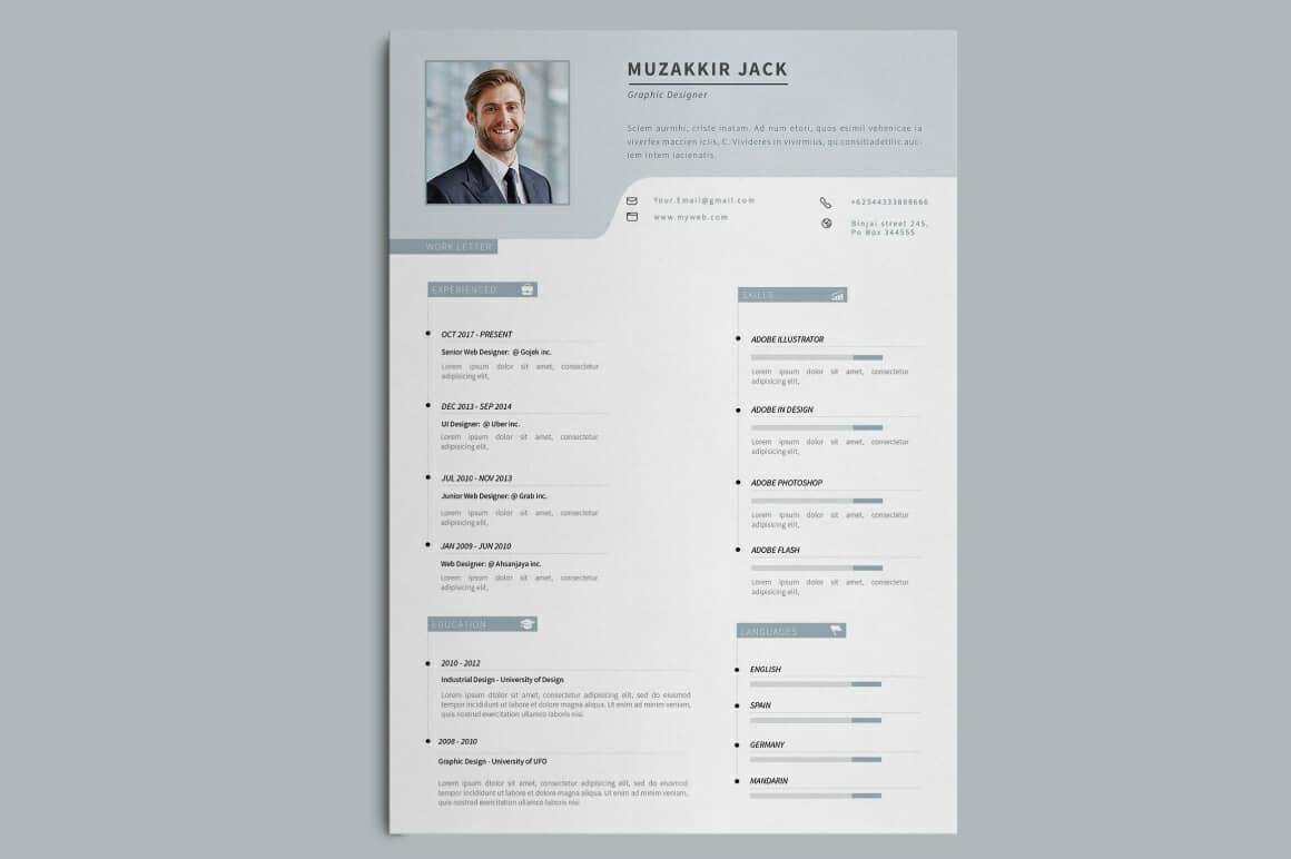 simple resume design with grey header and section titles