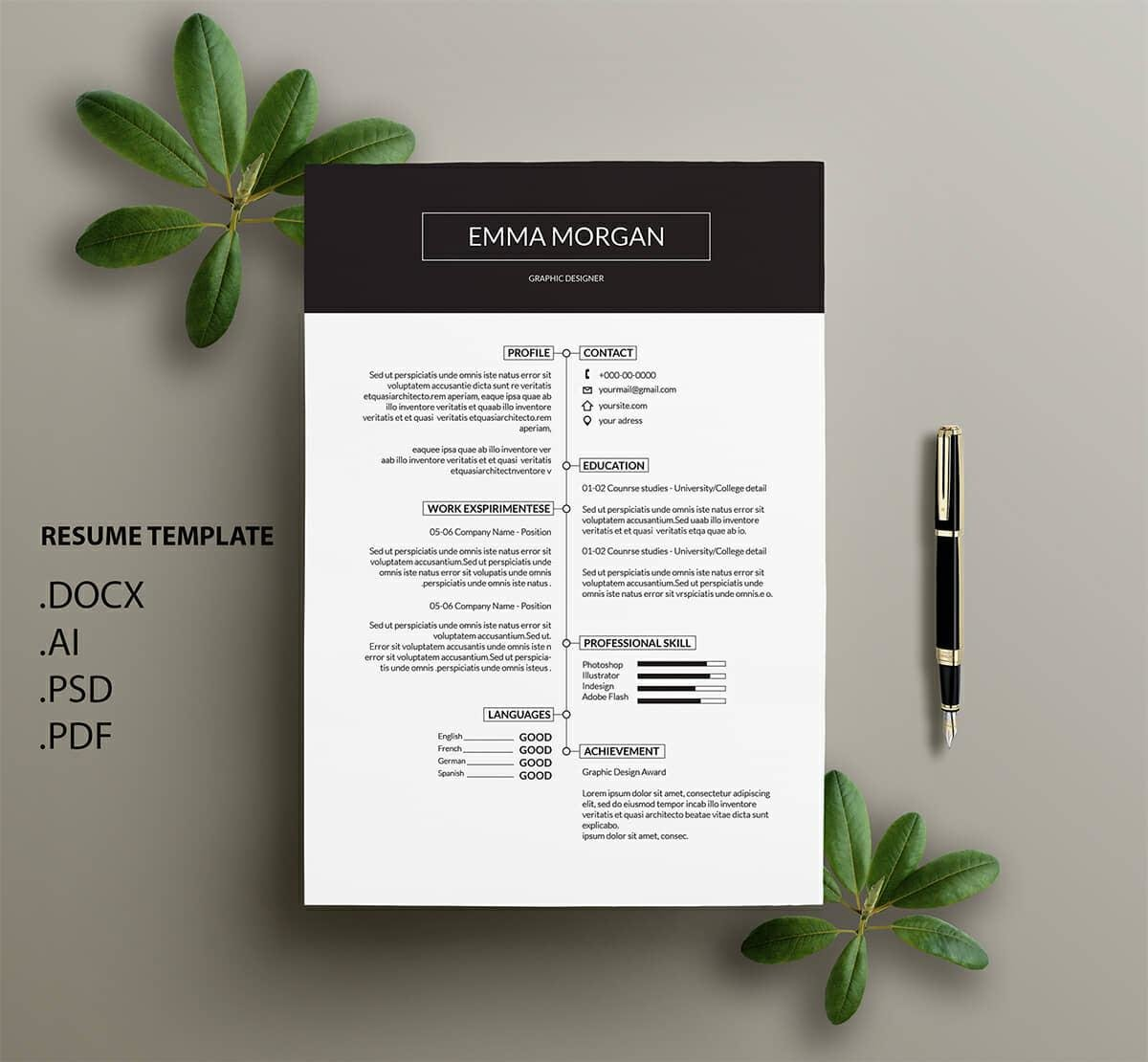 clean resume design with timeline