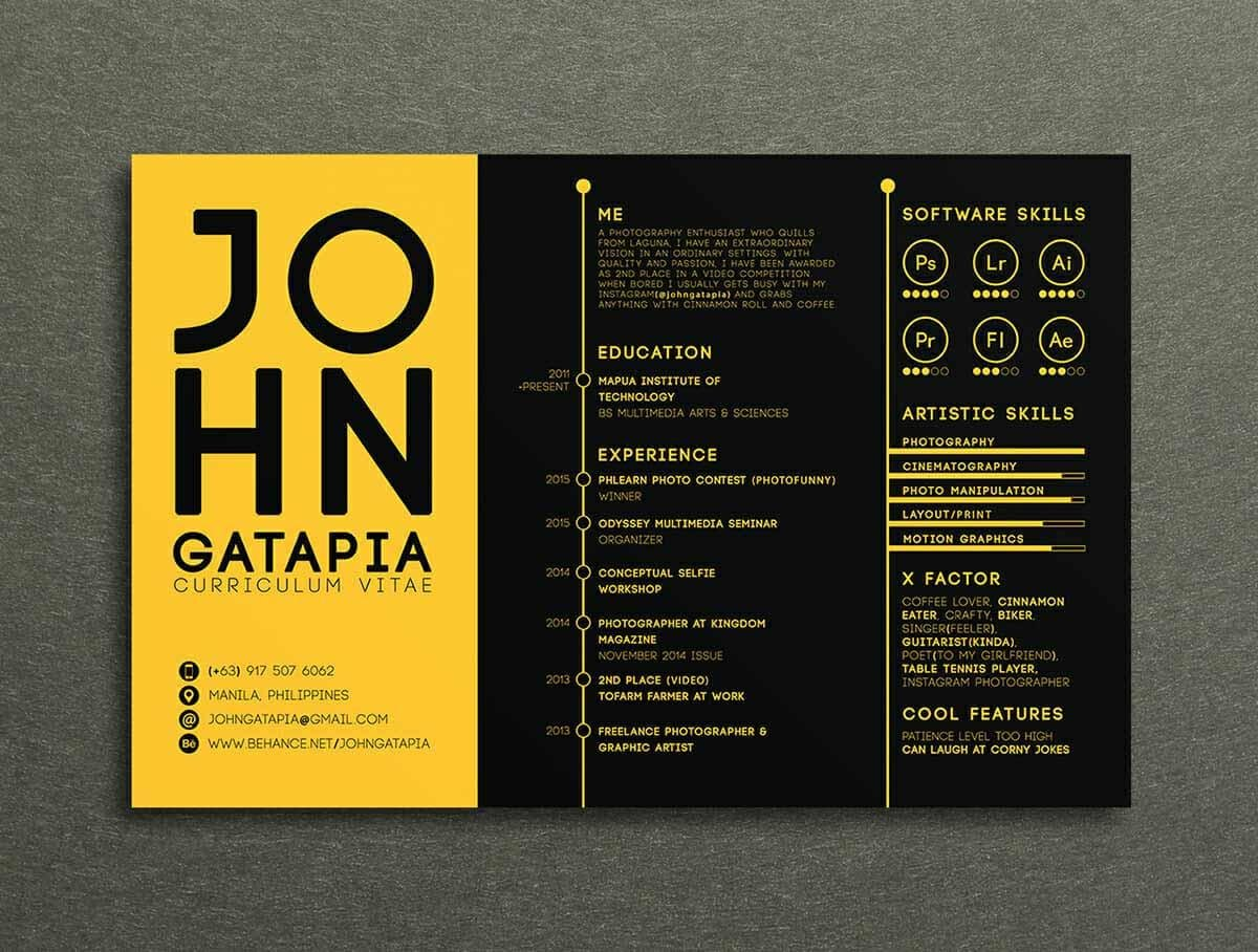 resume design example in contrasting colors