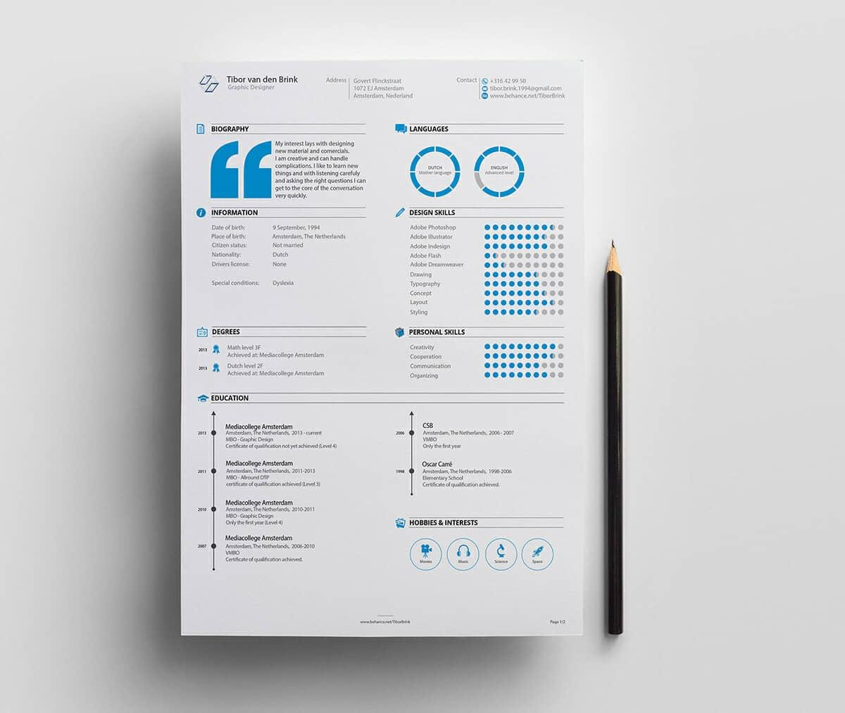 professional resume design with blue details
