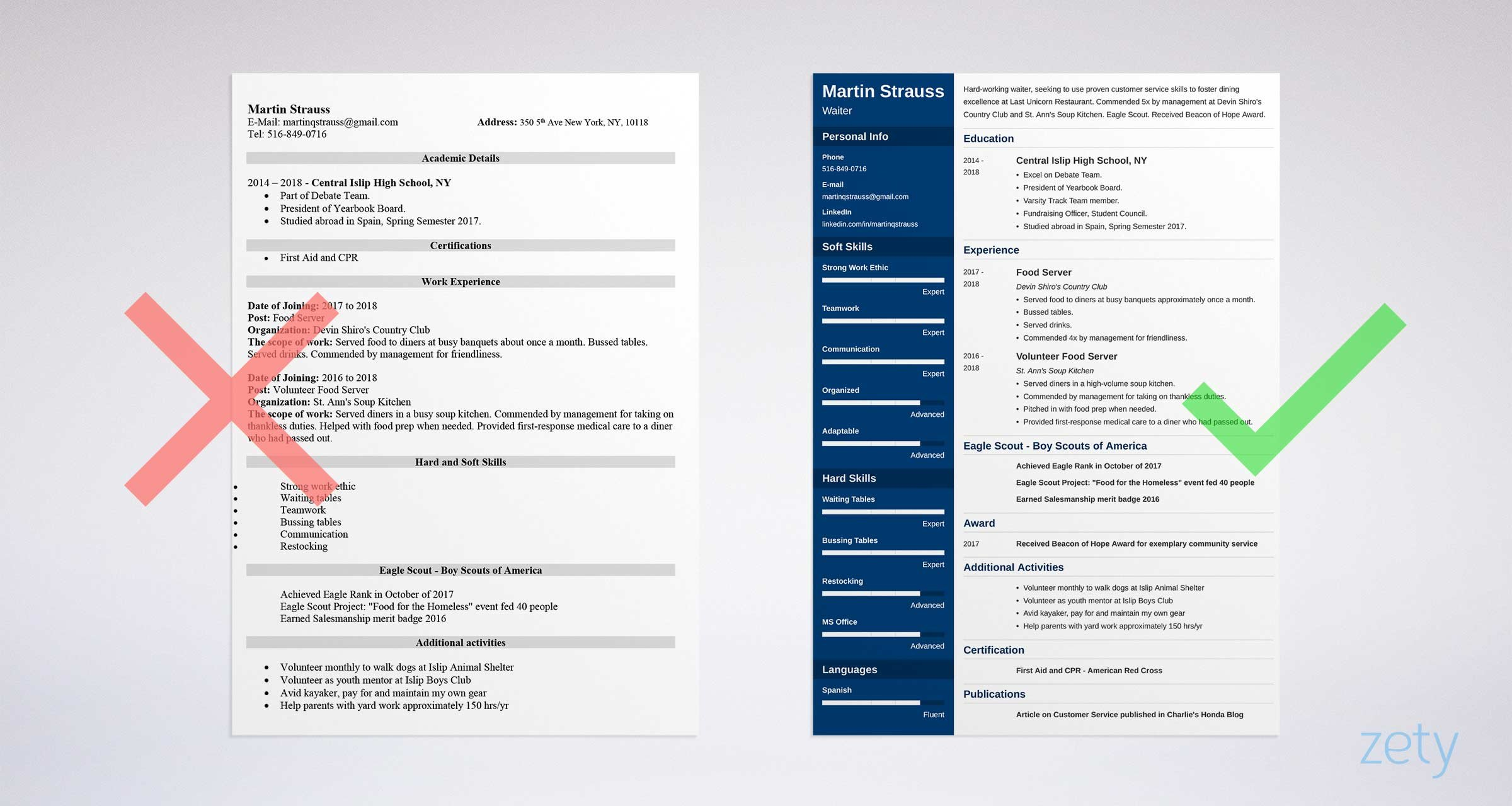resume example for jobs for teens