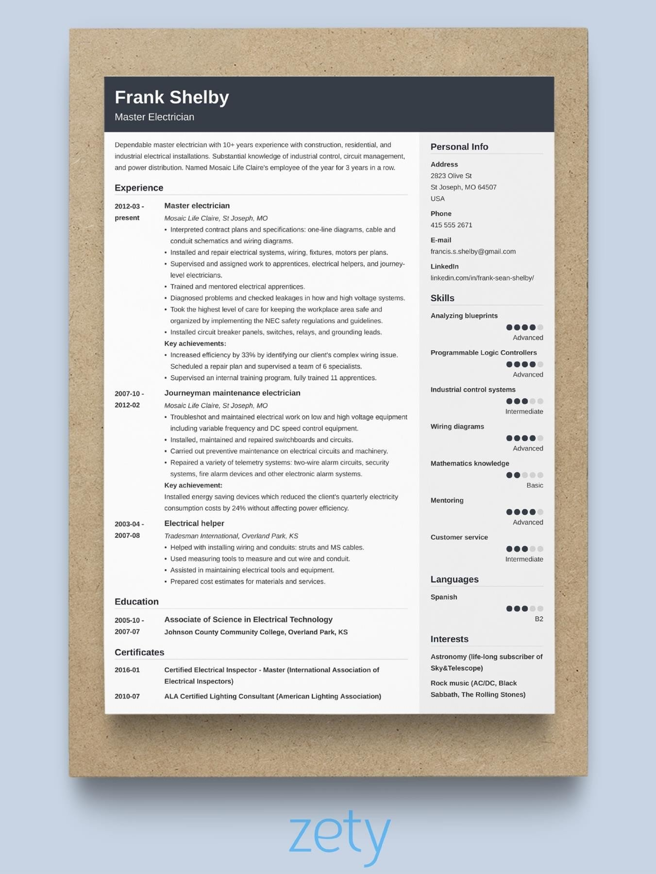 reverse-chronological resume