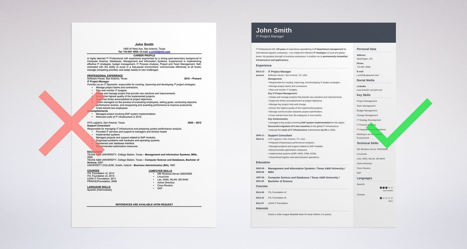 Example Of A Resume Format Template  Formatting Resume