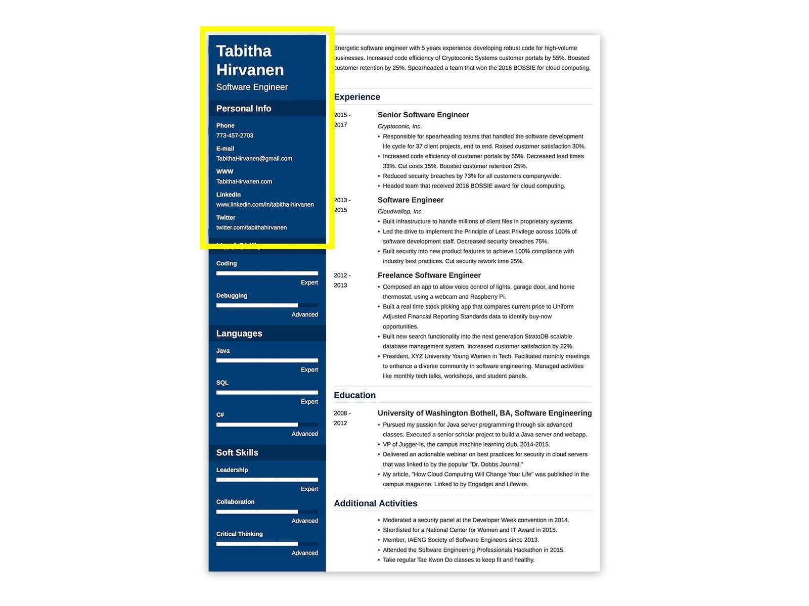 resume with highlighted header