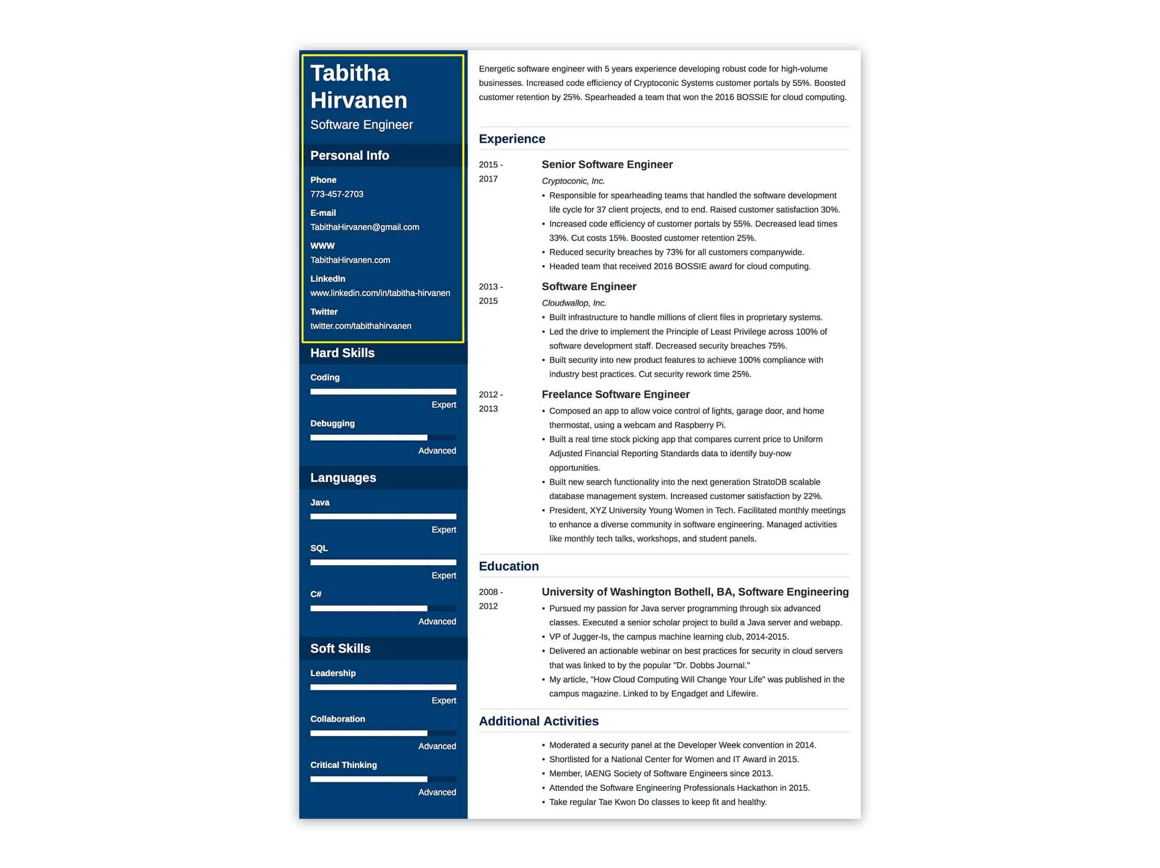 how to make a resume header with the right contact info example - Resume Header