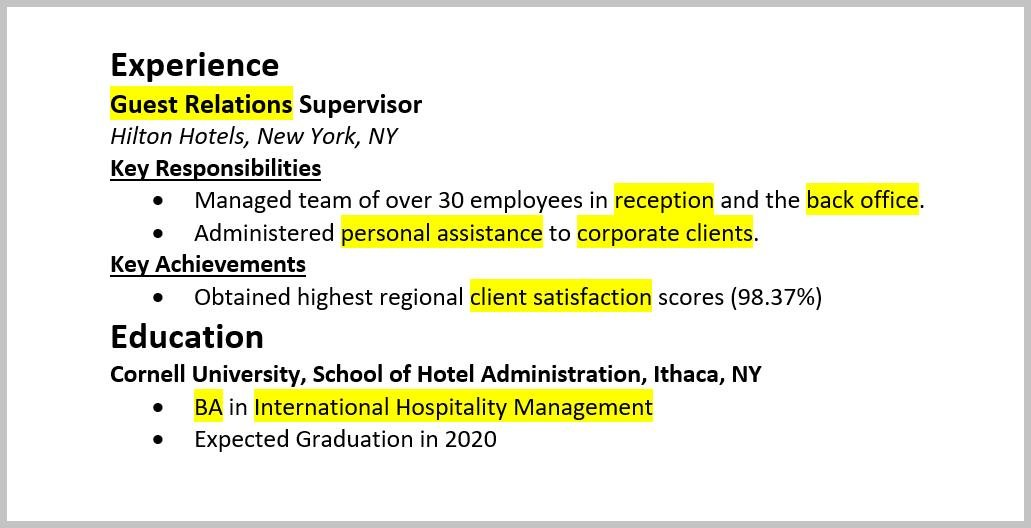 Nice Resume Keywords Highlighted In Experience And Education Regard To Keywords On Resume