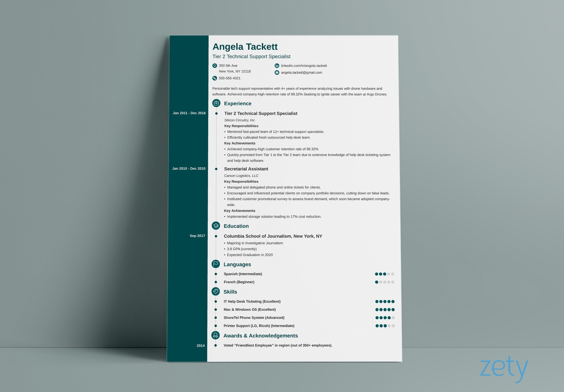 resume layout concept