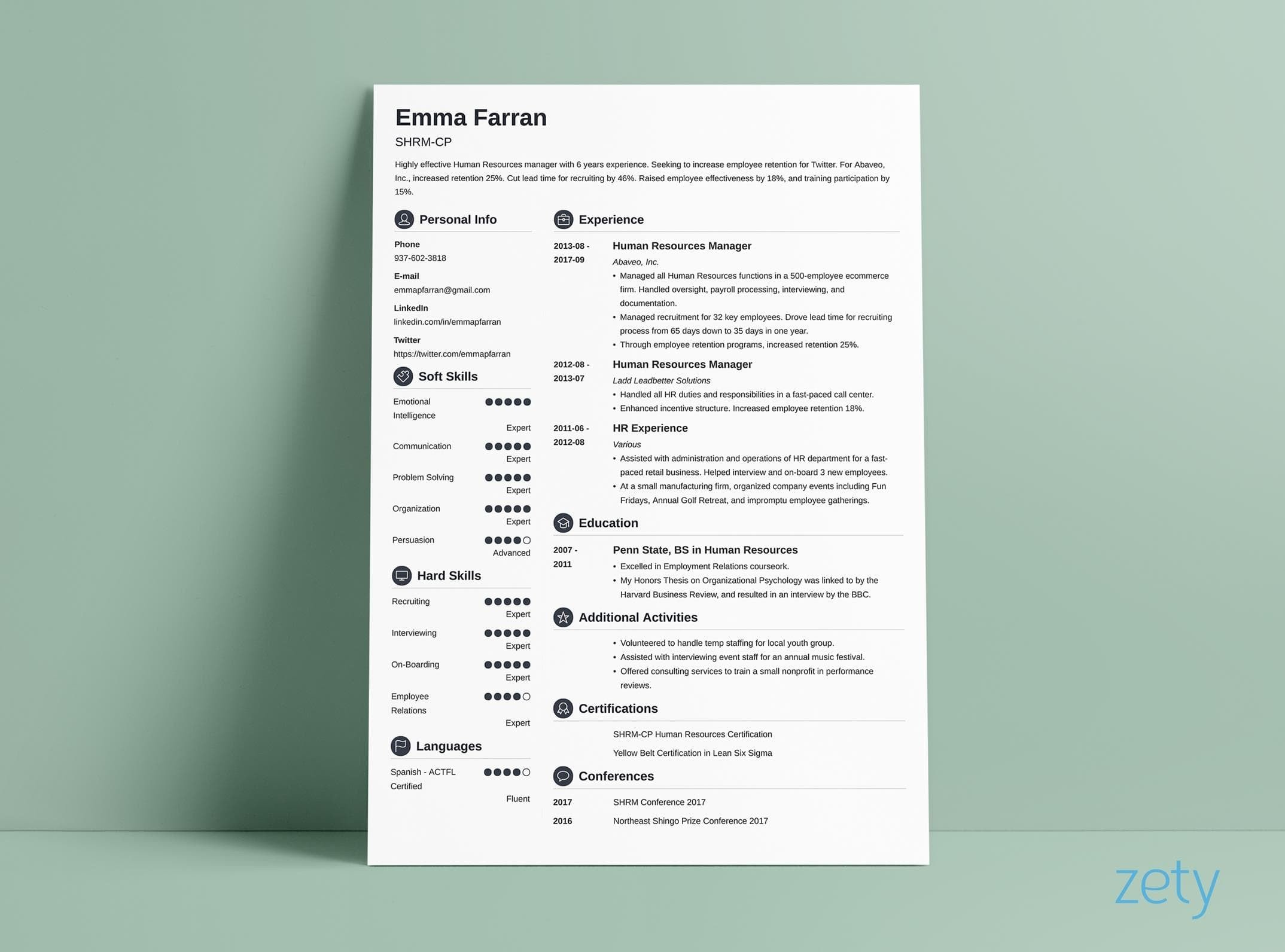 resume layout crisp