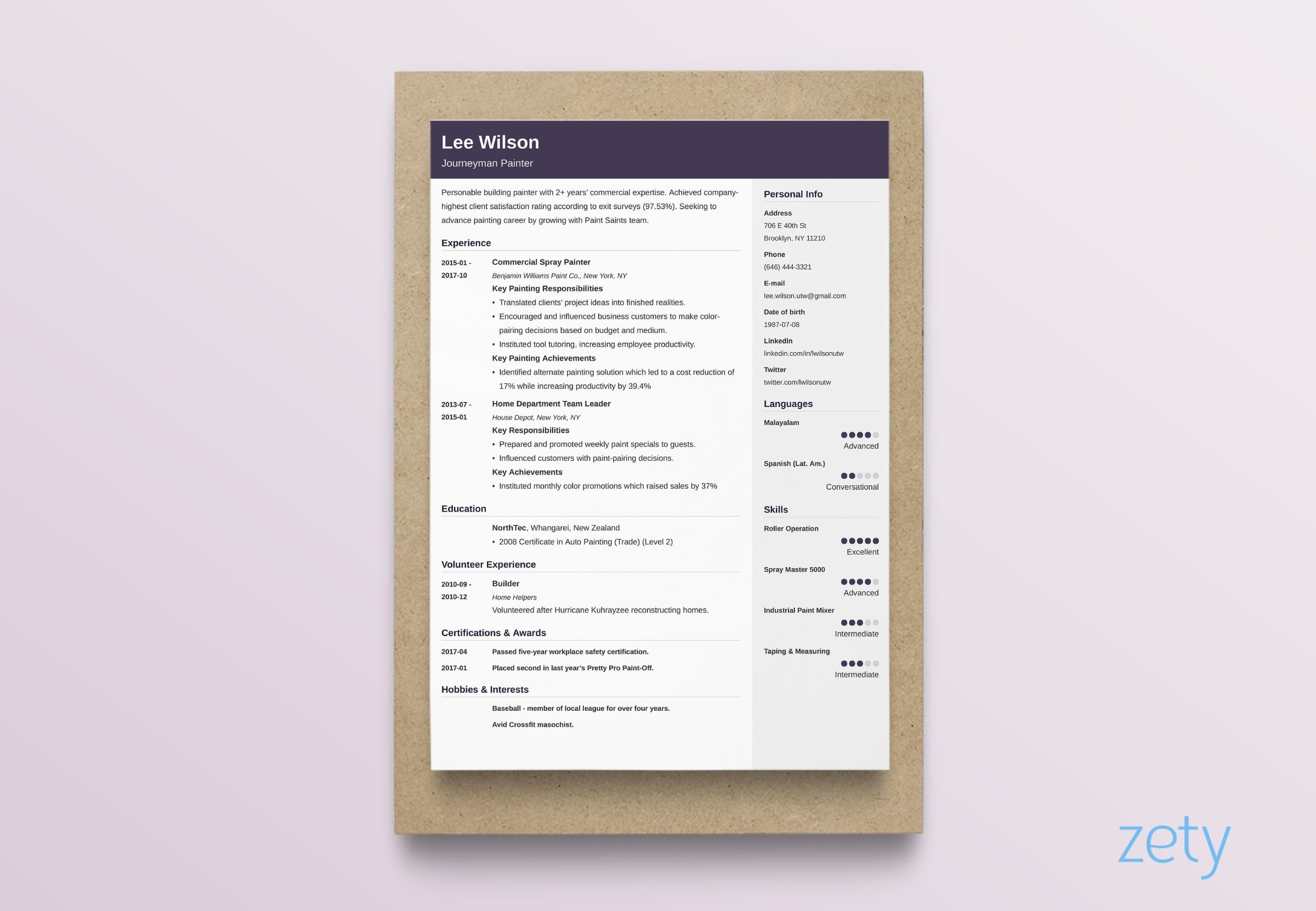 resume layout cubic
