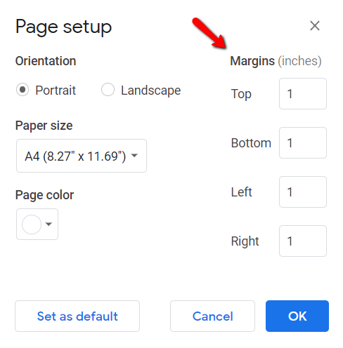 resume margins on google docs