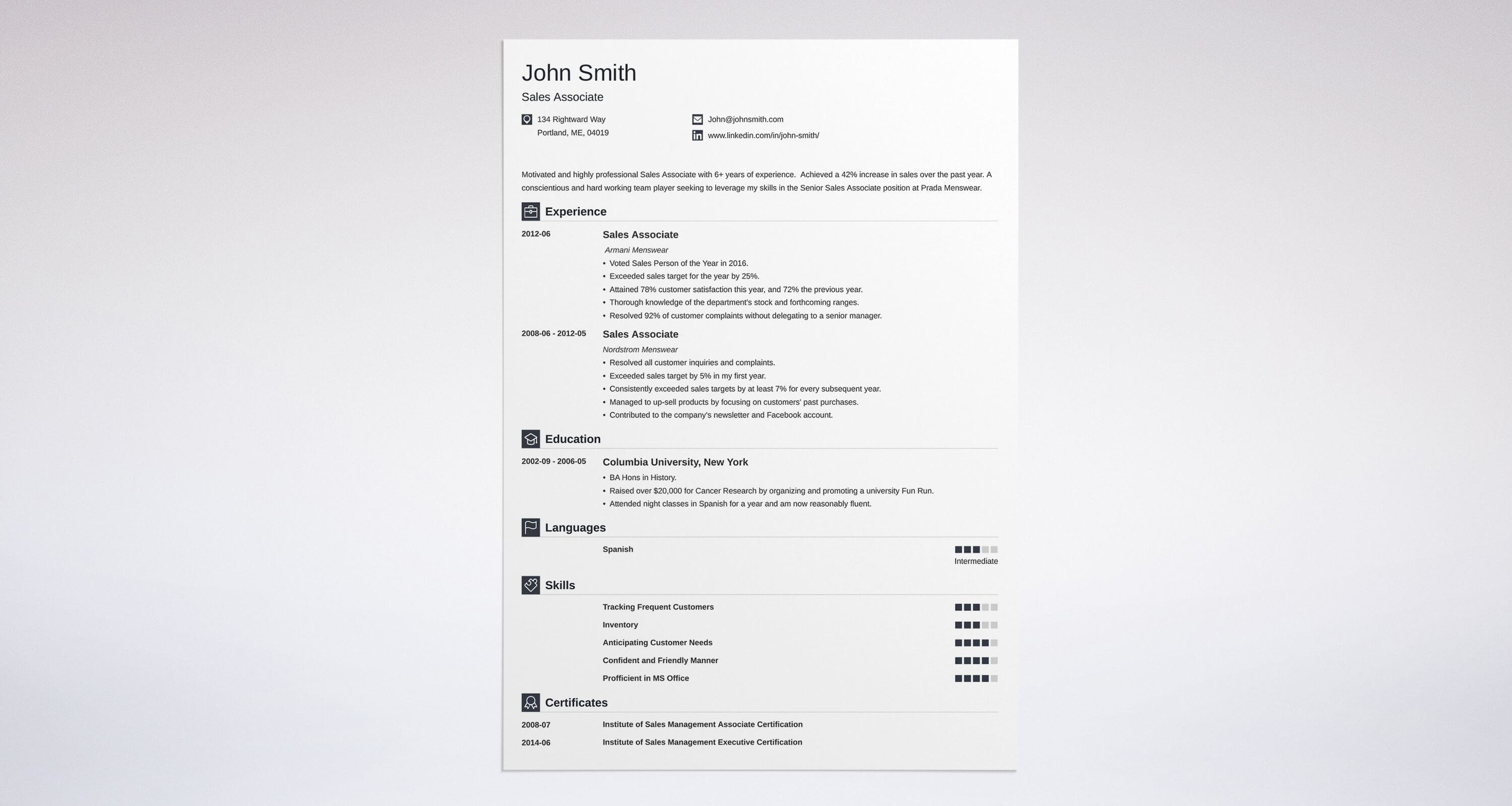 resume template sales