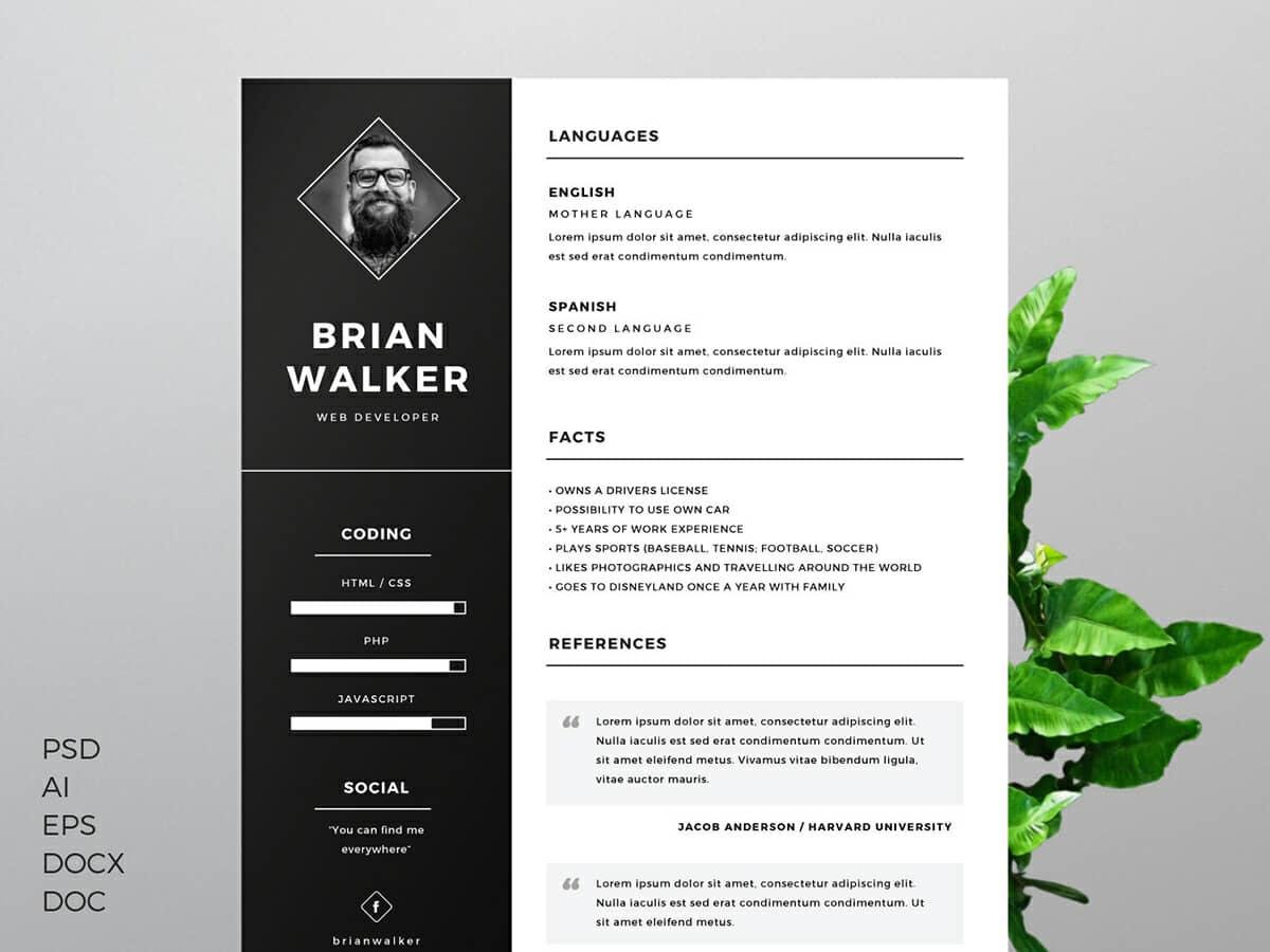 word resume template with dark sidebar - Graphic Design Resume Template